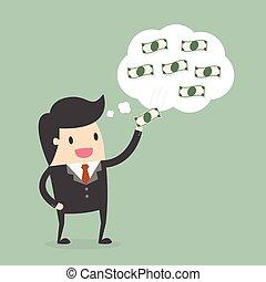 彼の, 離れて, 考え, お金, ビジネスマン, 盗品, 泡