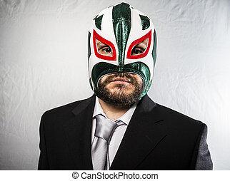 彼の, 顔, 服を着せられる, 怒る, マスク, ビジネスマン, 鉄, スーツ, タイ