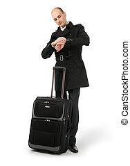 彼の, 飛行, ビジネス, 空港のラウンジ, 待つこと, 人