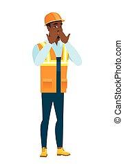 彼の, african-american, shoked, カバーの 口, 建築者