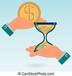 彼の, bank., 金, お金, コイン, お金。, 資金, 堆積, ドル, 移動, コイン, 砂時計, 時間, hands., working.