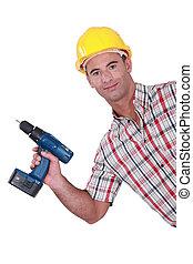 彼の, handyman, コードレス, showing-off, ドリル, 新しい