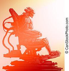 彼の, illustration., サイエンスフィクション, 外国人, 宇宙飛行士, 鉄, スーツ, throne., 座る