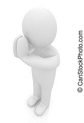 彼の, knees., 人を配置する, 概念, 祈とう, キリスト教徒, 3d