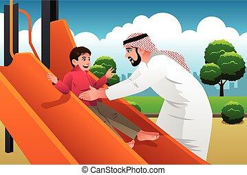 彼の, muslim, アラビア人, 運動場, 子供, 人