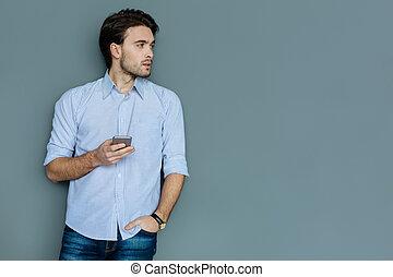 彼の, smartphone, 保有物, すてきである, 痛みなさい, 人