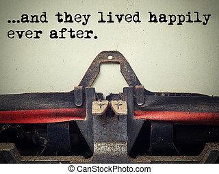 彼ら, テキスト, 型, タイプライター, 今までに, 幸福に, 後で, lived