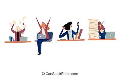 彼女, ∥あるいは∥, 毛, 睡眠, 机, イラスト, 女性, ベクトル, セット, 従業員, ...