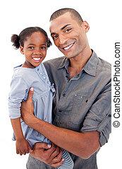 彼女, わずかしか, 娘, 保有物, アフロ - american, お父さん, 幸せ