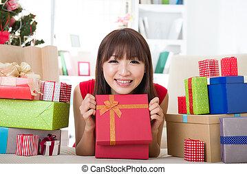 彼女, アジア人, 家, 女の子, クリスマス祝典