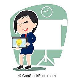 彼女, タブレット, 女性実業家, 考え, 中国語, プレゼンテーション