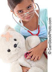 彼女, テディ, 点検, 健康, 子供, 聴診器