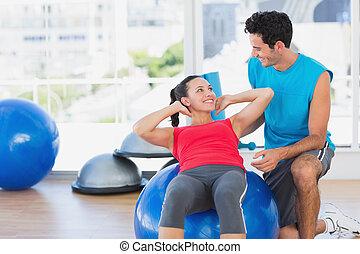 彼女, トレーナー, ジム, 男性の女性, 練習, 助力