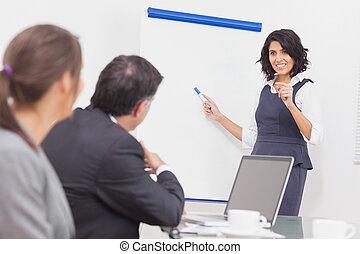 彼女, プレゼンテーション, 質問, 女性実業家, 説明, 聞くこと, マーカー