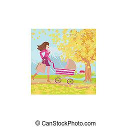 彼女, 取得, 公園, 若い, 秋, によって, お母さん, 赤ん坊, 散歩しなさい
