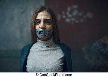 彼女, 口, テープに取られた, 誘拐, 犠牲者, 締められる