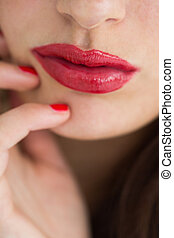 彼女, 唇, 提示, 女, クローズアップ, 赤