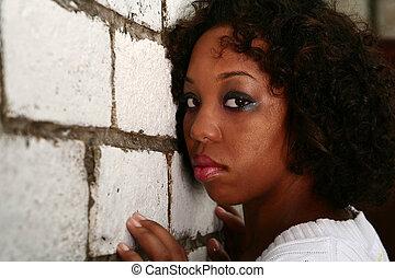 彼女, 壁, lean, 顔, アメリカ人, アフリカ, 女の子, れんが