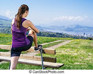 彼女, 女, 公園, 足, 伸張