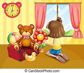 彼女, 家, 中, 子供, おもちゃ, 手配する