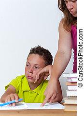 彼女, 息子, tween, 女性, 悲しい, 宿題