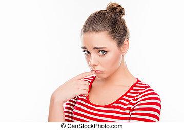 彼女, 感動的である, 女の子, 肖像画, 混乱, 唇, dumpish, かわいい