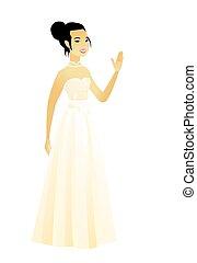 彼女, 手。, 若い, 振ること, 花嫁, アジア人