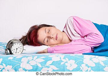 彼女, 次に, 女の子, 睡眠, ベッド, 目覚し 時計
