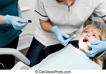 彼女, 歯医者の, 年報, の上, 女の子, 点検