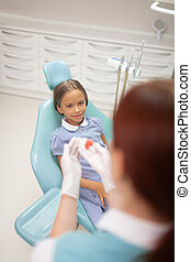 彼女, 歯科医, 見る, 監視, 口, 準備, 女の子