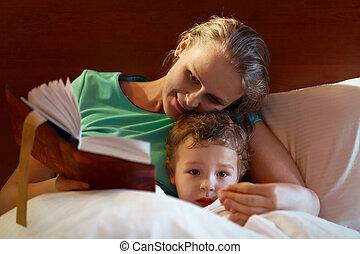 彼女, 母, 若い, ベッド, 子供, 読書