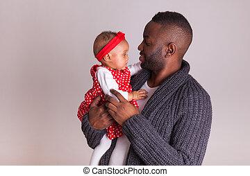 彼女, 父, 若い, アメリカ人, 保有物, アフリカ, 女の赤ん坊