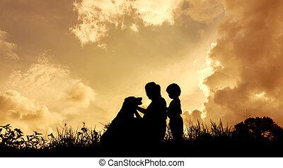彼女, 犬, シルエット, 日没, の間, 女性, 子供