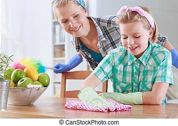 彼女, 監視, ふくこと, ママ, テーブル, 女の子