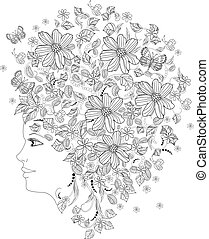 彼女, 肖像画, b, 女の子, 花, 着色, ファッション, 頭