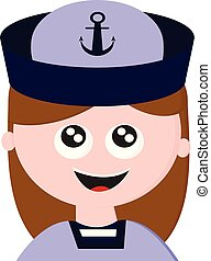 彼女, 色, 服を着せられる, 特徴, イラスト, ユニフォーム, 船員, ベクトル, 笑い, 女の子, ∥あるいは∥, 漫画