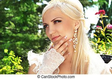 彼女, 花嫁, ポーズを取る, マニキュア, 婚礼の日