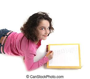彼女, 若い, 執筆, ペーパー, 子供, 宿題
