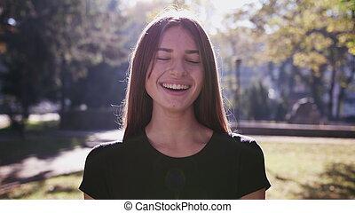 彼女, 若い, 顔, 感動的である, 肖像画, 女の子