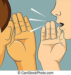 彼女, 言うこと, うわさ話, 何か, 聞くこと, 耳, 秘密, 誰か, 男の女性, ささやくこと