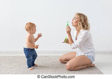 彼女, 遊び, -, 親, 母, 子供, 概念, baby., 単一