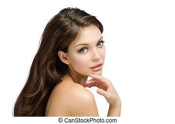 彼女, 顔, 裸である, 感動的である, faultless, 肖像画, 女の子