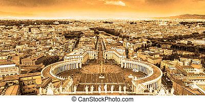 彼得` s, italy., 羅馬, 廣場, 梵蒂岡, 聖徒