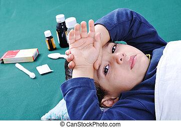 彼, の後ろ, 病気の 子供, 丸薬, 医療補助員