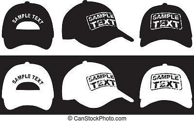 往回, 边, 帽子, 矢量, 棒球, 观点。, 前面