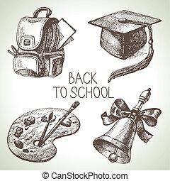 往回, set., 对象, 矢量, 图解, 手, 画, 学校