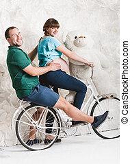待っている, 自転車, 親, レトロ, 乗馬, スタジオ