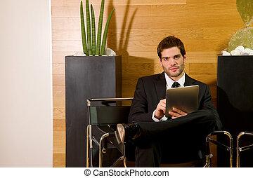 待つこと, 人, オフィス, ビジネス, ロビー
