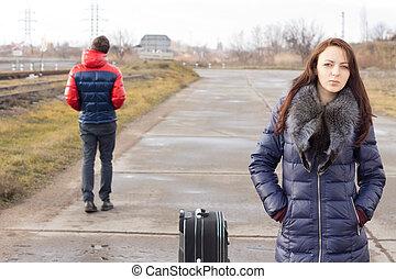待つこと, 女, 若い, 彼女, スーツケース