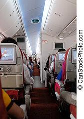 待つこと, 飛行機, 乗客, kolkata, 出発, interior., india.